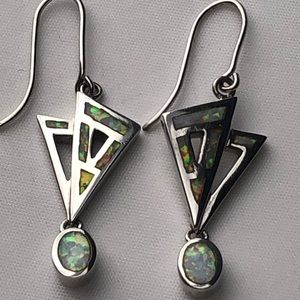 Opal Sterling Dangle Earrings